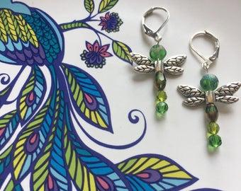 Green dragonfly dangle earrings