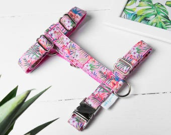 """Dog Harness or Cat Harness """"Tropical Flamingo Harness"""" Adjustable Harness and Leash Set"""