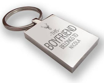 Personalised engraved This BOYFRIEND belongs to KEYRING gift, metal keyring - LG7