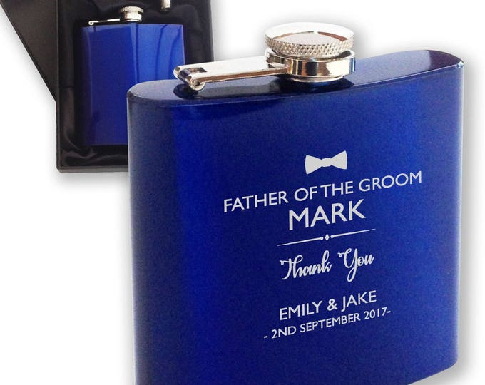 Personalised engraved FATHER of the GROOM hip flask WEDDING gift idea, blue reflective stainless steel presentation box, bow tie - HPF2