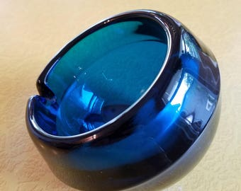 Mid Century Modern Cobalt Blue Ashtray