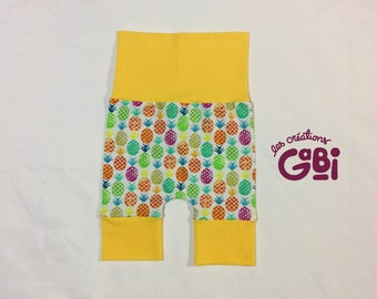 Scalable shorts, harem, 6/36 months, grow with me, baby, child, pineapple