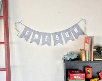 Little Letterman Gray Felt NAME bunting
