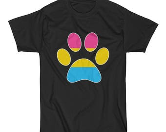 Pansexual Pride Dog Paw Short Sleeve T-Shirt lgbt lgbtq lgbtqia queer