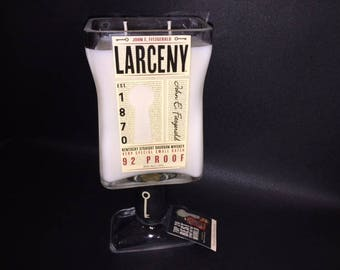 Huge 1.75L HANDCRAFTED Candle UP-CYCLED 1.75 Liter vs 750ML Larceny Bourbon Whiskey Bottle Soy Candle With/Without  Base. Made To Order