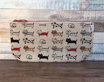 Cats Pencil Case –Colorful Kitties Kawaii Japanese Fabric Handmade Zipper Pouch Wallet Boys Girls Kids Back to School Supplies Zippered Bag