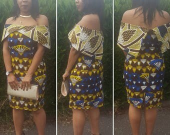 Custom Offshoulder Structured African Print Dress ( Occasions, Weddings, Red Carpet )