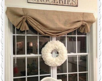 Natural Burlap Valance With Jute Ties Kitchen Cafe Valance Swag Country  Farmhouse Panels Drapes Designer Window
