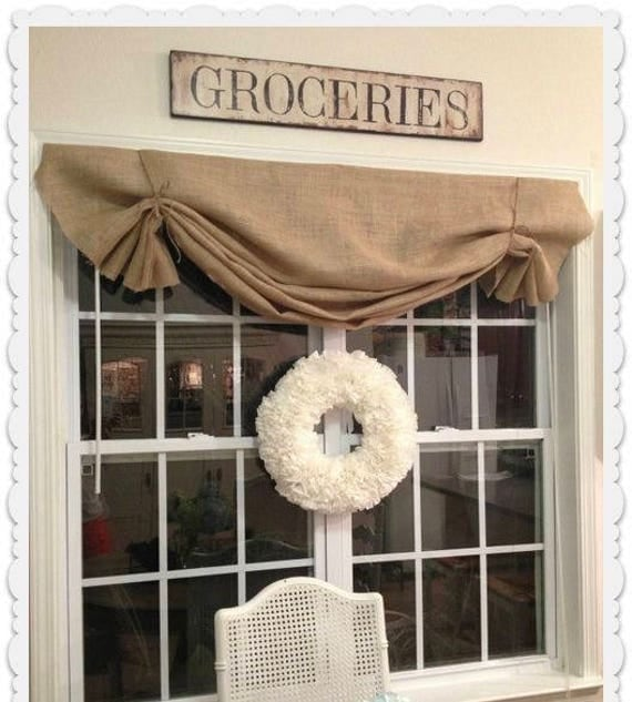 Valance W Burlap Ties And: Natural Burlap Valance With Jute Ties Kitchen Cafe Valance