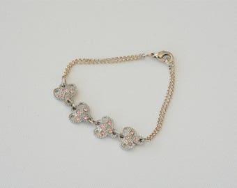 Pink Crystal Flower Charm Bracelet