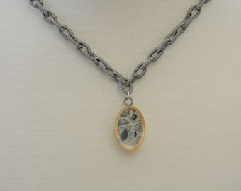 Gray Resin Pendant on Polyester Chain