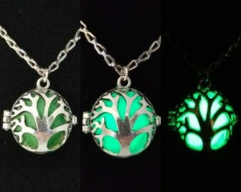 Glow in the dark tree of life pendant // glows bright green // Ready to ship!