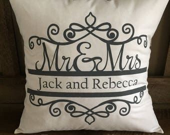 Mr. and Mrs. Decorative Throw Pillow-Personalized-Wedding Gift-Anniversary-Love-Last Name-First Name