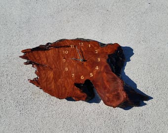 Redwood Burl Clock Handmade Wall Hanging Rustic Slab Anniversary Gift #8