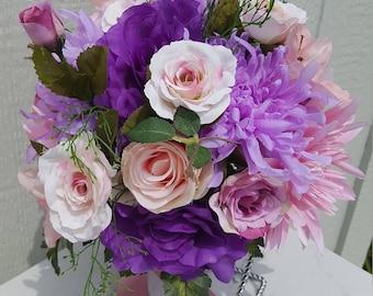 Purple,Blush Pink,Spring,Silk Flowers,Wedding,Bridal Bouquet,Wild Foliage,Light, Dark Purple Roses, Lavender,Blush Pink Spider Mums,Greenery