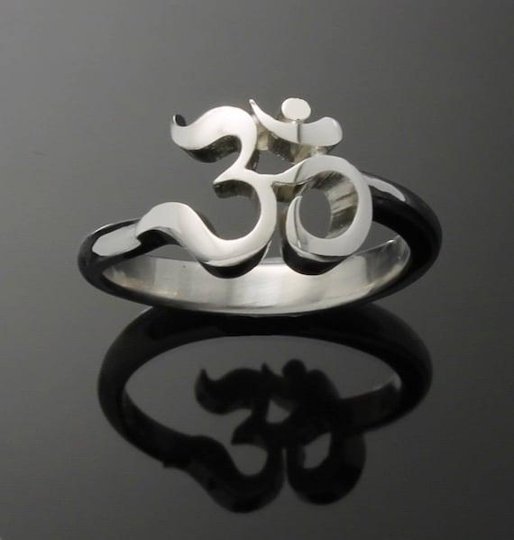 Om ring, Yoga ring, Zen ring in Palladium Silver
