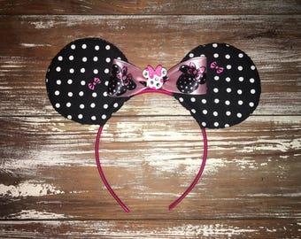 Minnie Inspired Ears, Polka Dot Ears, Fabric Ears, Disney Inspired Ears, Mouse Ears