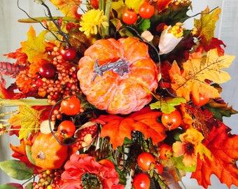 Fall cornucopia arrangement