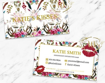 Lips Business Cards - White Boho Floral - Instant Download