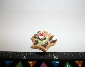 Dollhouse Miniature Handcrafted Mint Chocolate Chip Ice Cream Waffle Bowl Dessert Food for the Doll House 1219