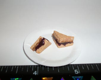 New Dollhouse Miniature Handcrafted Peanut Butter & Grape Jelly Sandwich on a paper plate ~ Food for the Doll House 928