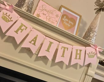 Pink and gold first Birthday Decorations. Pink and gold first Birthday banner. Pink and gold First birthday party.