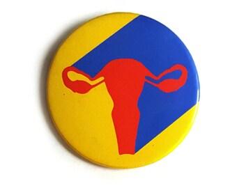 Superhero Uterus Pinback Button