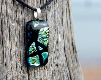 Handmade fused dichroic glass pendant necklace and earring set