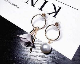 Pearl Drop Earring / Women Flower Drop Earring / Fashion Earring