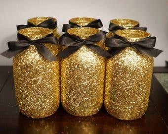 10 Glitter Mason Jar, Centerpieces, Wedding decorations