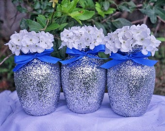 3 Glitter Centerpieces, Glitter Vases, Glass Vases, Wedding Centerpiece, Baby Shower Centerpiece, Silver Centerpieces