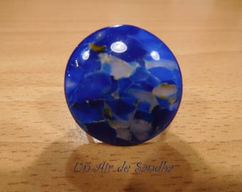 "Round ring adjustable ""Lazuli"" polymer clay."