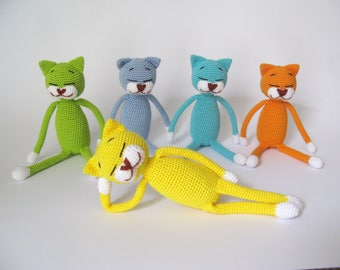eco friendly toys small crochet stuffed animal cat plush toy for baby gift crochet teething blue cat lover gifts for 1 year old