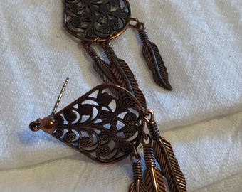 Copper Hanging Feather Post Earrings