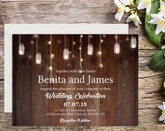 Rustic Wedding Invitation, Country Wedding, Rustic Invitations, Printable Wedding, Invitation template, Wedding invitation, DIY wedding