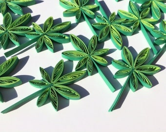 Quilled Leaves Leaf Maple Hemp Paper Quilling Art Confetti Scatter Ornaments Gift Fillers Fall Autumn Saint Patricks Day Wedding Green