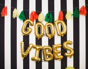 "Good Vibes Letter Balloons | 16"" Gold Letter Balloons 