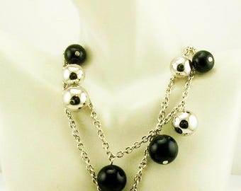 """Kenneth Jay Lane Bauble  Bead Necklace   17"""" Black/Silver"""