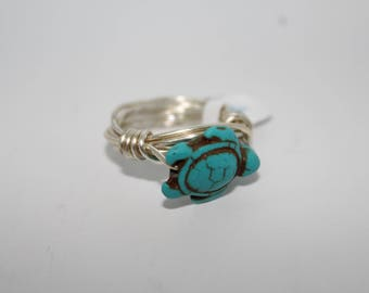 Turquoise Sea Turtle Silver Ring