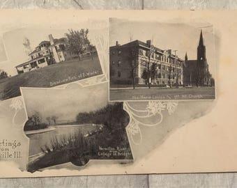 Vintage postcard, postcard, new year postcard, vintage stamp, danville postcard, vermillion river postcard, danville Illinois
