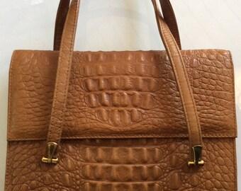 Vintage 1960/70 handbag - Elegant faux crocodile purse