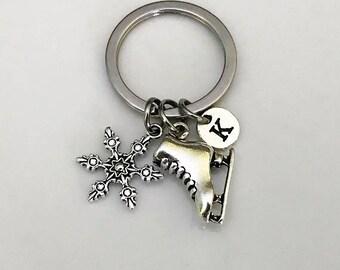 Ice Skate Keychain, Skating keychain, Figure Skating keychain, Skater's Key chain, Winter Sports Gift keychain, Snowflake keychain gift