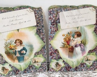 Antique Die Cut Cards ~ Oversized~ Set of 2 ~ Scalloped Edges ~ 1903