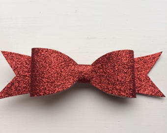 Sparkly red hair bow