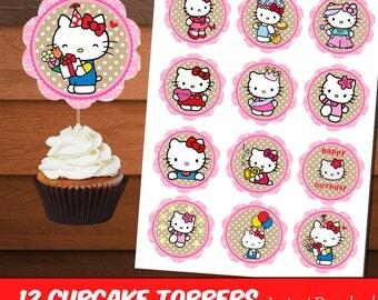 Hello Kitty Cupcake Toppers-Printable Celebration Hello Kitty Toppers-Digital Hello Kitty Birthday Toppers-Cute Pink Toppers-DIGITAL