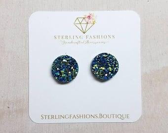Medium - Blue with Green Specks Druzy