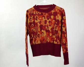 Vintage 70's sweater with crowd of people print / Size small
