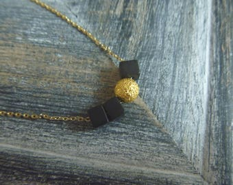 Necklace turquoise black cubes and stardust beads