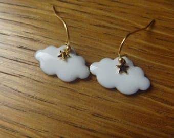 Clouds with rain drops and white autumn: Earrings