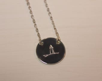 Lighthouse necklace, hand stamped jewelry, every day disc necklace, silver, gold, rose gold